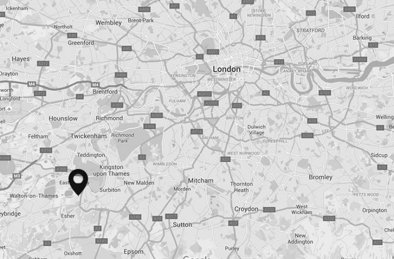 A map showing the location of our HR consultancy in Surrey