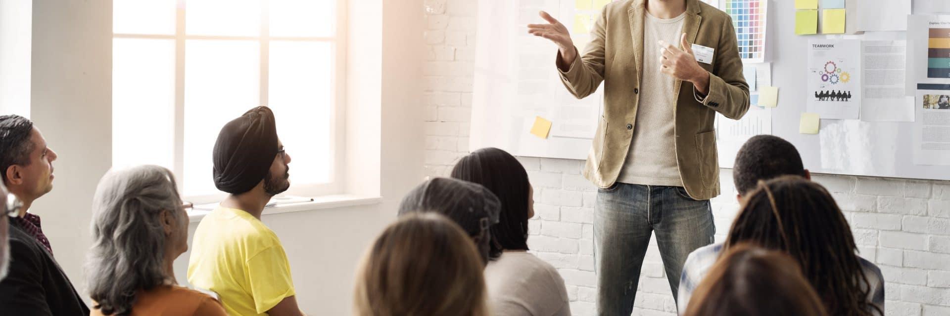 Trainer speaking at a leadership development programme
