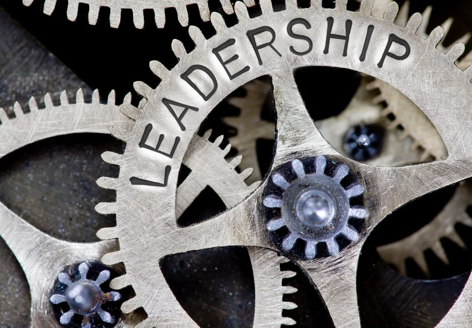 The word leadership written on a cog demonstrating leaders and leadership development programmes as as essential part of a working machine