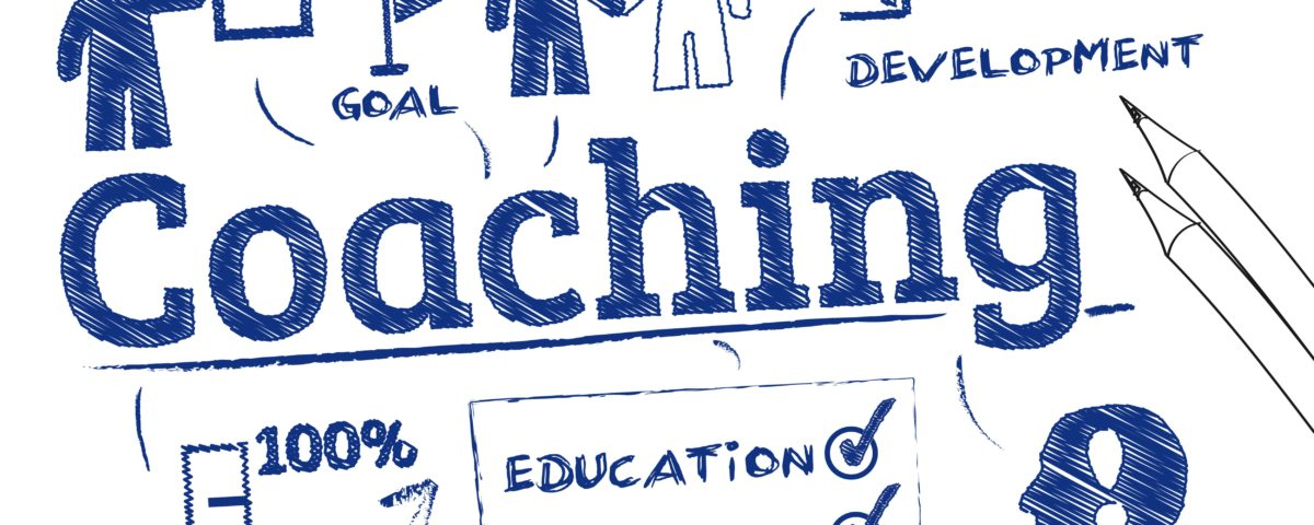 Sketch of how executive coaching can unlock your potential with words such as development, coaching, training and mentor